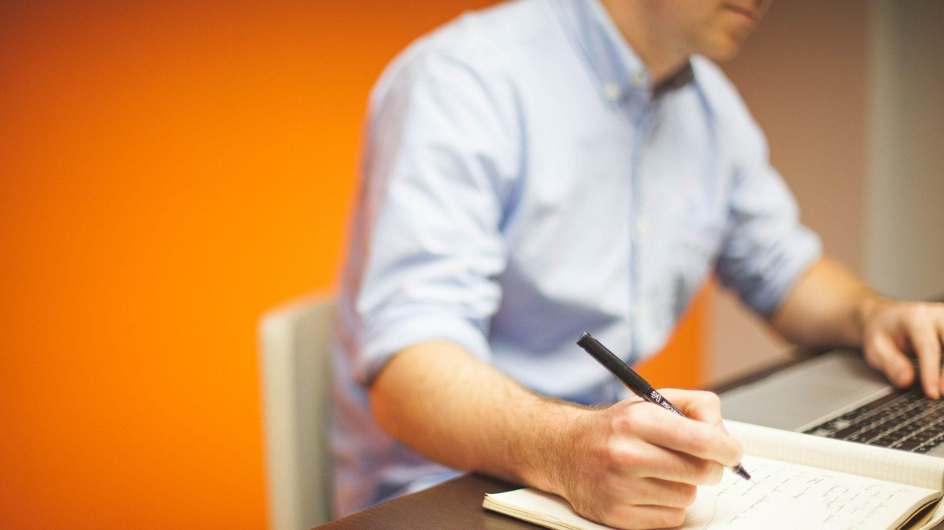 business man writing